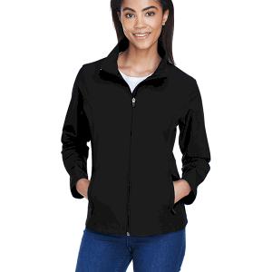Team 365 Ladies Leader Soft Shell Jacket Black Front